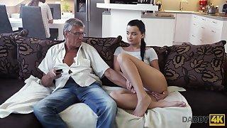 Whorish coed Erica seduces granddad of will not hear of whack fixture
