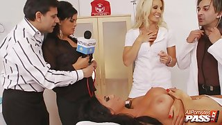 Hardcore fucking on the hospital bed with three busty nurses