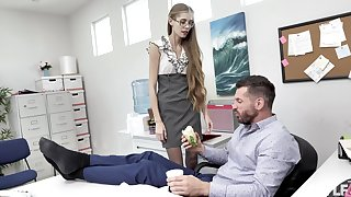 Nerdy secretary finds it intriguing encircling fuck with the boss