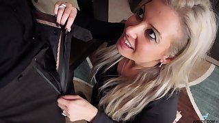 Cock hungry wifey Alana Luv drops on her knees to suck and rides