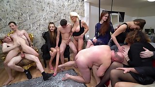 Hardcore unpaid group coitus bisexual party with cranky Mila Sweet