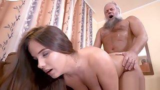 Torrid grandpa enjoys banging a busty babe