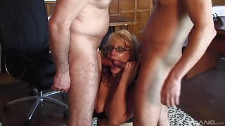 Two hard dicks can satisfy all sexual needs be proper of hot and wild blonde