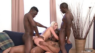 Sexy blonde babe tries hard sexual intercourse regarding three black thugs