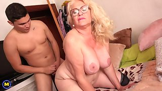 Spanish Granny Gets Had Dealings By 18Yo Boy - licking hoochie-coochie
