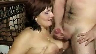 Russian mature Mom plus her boy! Amateur!