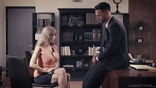 Bosomy grown-up employee Darla Crane is sexual congress with young boss