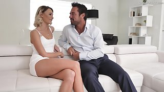 Hot blond babe in arms Emma Hix is having crazy sexual congress fun to handsome boyfriend Johnny Castle