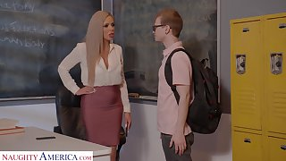 Horny nerdy MILFie tutor Nina Elle fucks well with her partisan on the dresser