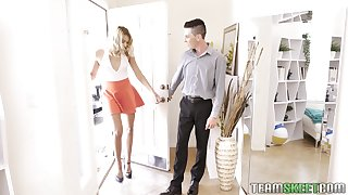 Slender and tall blonde Chanel Grey is fucked wits two horny guys